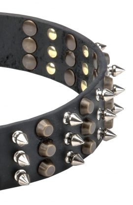 Cool Leather Collar with Columns of Spikes and Pyramids