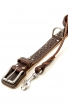Set of Nappa Padded Collar with Silver-like Spikes and Braided Leather Leash with Stainless Steel Snap-hook