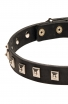 Designer Leather Boxer Collar with 1 Row Nickel Studs