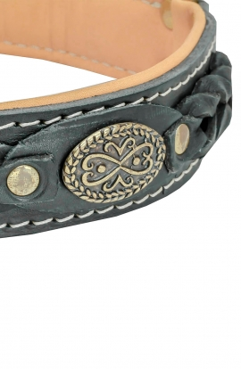 Royal Nappa Padded Mastiff Leather Collar Decorated with Braids