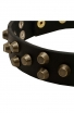 Beautiful Studded Leather Rottweiler Collar with Old Brass Pyramids