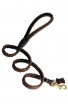 Braided Leather Dog Leash with Round Handle