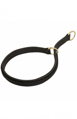 Pitbull 2 Ply Leather Choke Dog Collar with Braids