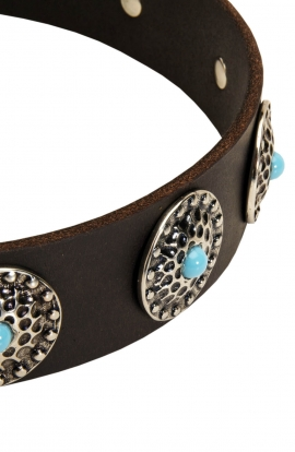 Designer Wide Leather Collar with Blue Stones for Mastiff