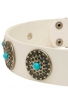 Fashion White Leather German Shepherd Collar with Blue Stones