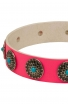 Pink Leather American Bulldog Collar with Silver-like Circles and Blue Stones