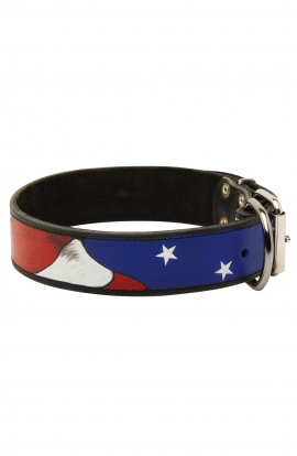Rottweiler Handpainted Leather Collar - American Pride
