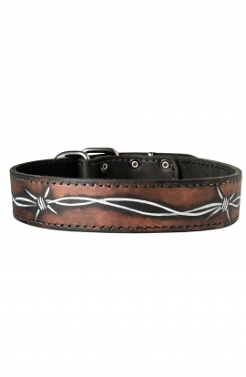 Pitbull Collar with Barbed Wire Painting