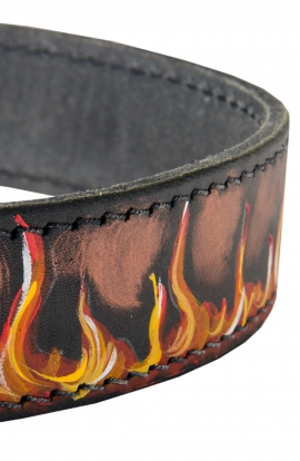 Hand Painted Leather Bulldog Collar with Red Flame