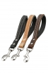 Short Dog Lead with Black Nappa Padded Handle and Stainless Steel Snap Hook