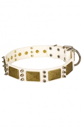 White Leather German Shepherd Collar with Spikes and Vintage Plates