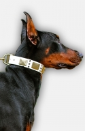 White Leather Doberman Collar with Spikes and Vintage Plates