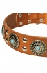 "Fancy Studded Leather Dog Collar with Silver-Like Adornment ""Blue Ice"""