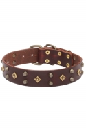 Decorated Dog Collar with Old Brass Dotted Square Studs and Pyramids