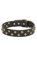 Vintage Collar Studded with Old-Style Brass Pyramids