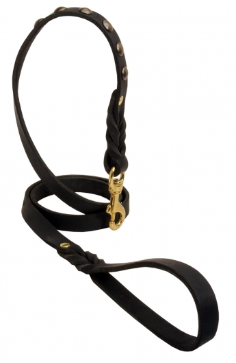 Decorated Leather Dog Leash with Studs and Braids