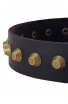 Fashion Extra Wide Leather Dog Collar with Old Brass Pyramids
