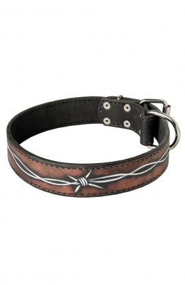 "Hand Painted Leather Dog Collar ""Barbed Wire"""
