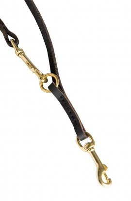Baby Soft English Leather Leash with Several Snap Hooks and Rings