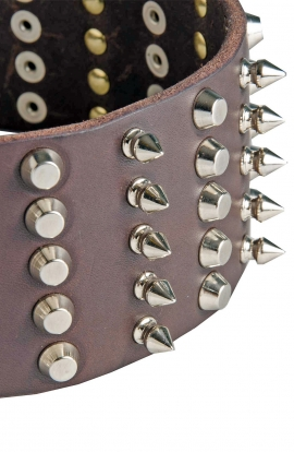 Super Leather Dog Collar with 5 Rows of Spikes and Pyramids