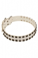 Designer White Leather Dog Collar with Nickel Square Studs