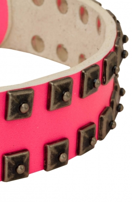 Pink Leather Female Dog Collar with Brass Studs