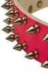 Cool Pink Leather Female Dog Collar with 2 Rows of Spikes