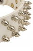 White Leather Spiked Dog Collar with 3 Rows of Spikes