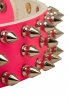 Pink Leather Spiked Girl Dog Collar with 3 Rows of Spikes