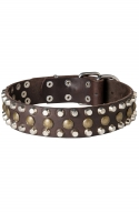 Leather Dog Collar with 3 Rows Pyramids and Studs