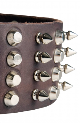 Extra Wide Spiked Leather Dog Collar with Spikes and Half Pyramids