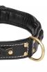 Roayl Braided Dog Collar with Black Nappa Padding and Brass Decorations