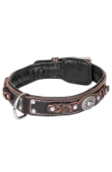 Designer 2 ply Leather Dog Collar with Black Nappa Padding and Nickel Decorations