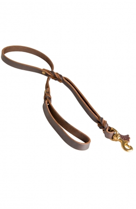 Braded Leather Dog Leash with Double Handle